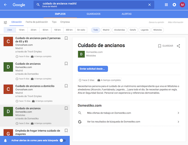 Busqueda de empleo con Google for Jobs